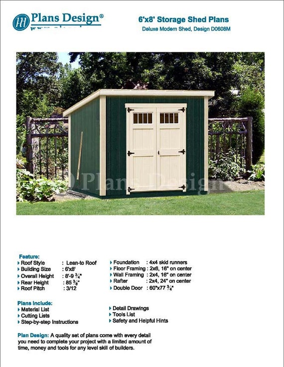 6u0027 X 8u0027 Garden Storage Modern Roof Style, Shed Plans / Blueprints, Material  List And Step By  Step Instructions Included #D0608M From PlansDesign On  Etsy ...