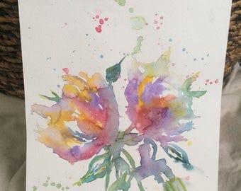 Rainbow Flower Watercolor