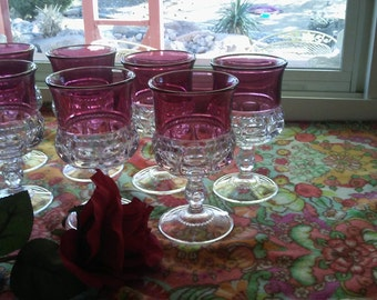 Kings Crown Thumbprint Cranberry glass set