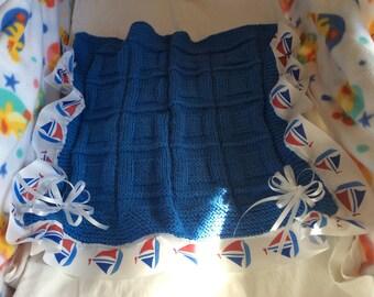 Handmade knitted, boy, girl, newborn, blanket, ribbon, bows, nautical, red, white and blue