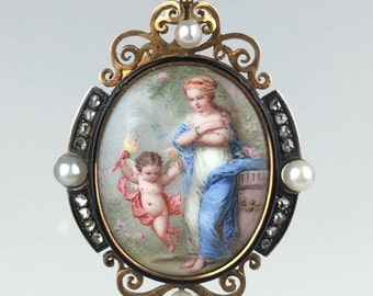 Signed French Enamel Miniature of Venus & Cupid Set in 18K Pendant/Locket with Diamonds and Pearls