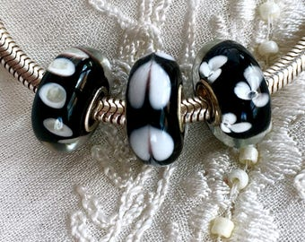 Murano Glass Beads, Black and White Glass Beads, Lampwork Glass Beads, Euro Beads, Sterling Silver Core