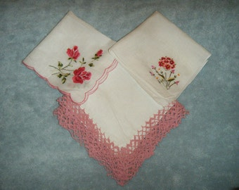 Vintage Women's Handkerchiefs - Three in Pink and Mauve
