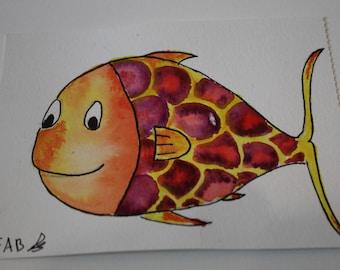 Watercolor original yellow and purple fish