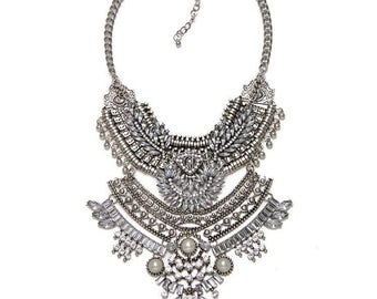 Large silver statement necklaces