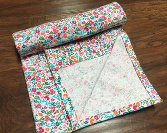 Flannel Receiving Baby Blanket, Floral Pattern, Girl Receiving Blanket, Baby Shower Gift, Nursery Bedding, Play Mat, Baby Branch Boutique