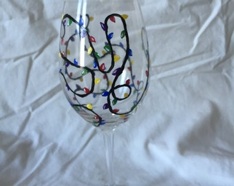 Holiday lights, hand painted, wine glass