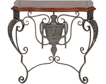 Maitland Smith Wrought Iron Leathertop Console