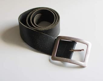 Leather Vintage Belt Brown Genuine Jeans Accessories Silver buckle Retro Unisex Women Men Girls Boys Accessory / 90 cm Small size