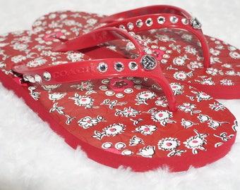 Red Coach Flip Flops with Swarovski Crystals