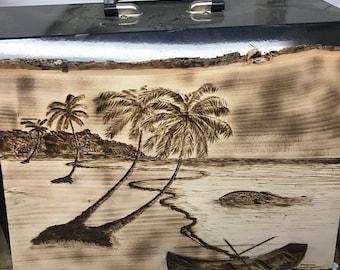 Wood burned beach scene