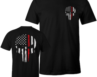Thin Red Line Shirt Firefighter Thin Red Line USA Flag Skull Men's T-Shirt Red Line of Courage