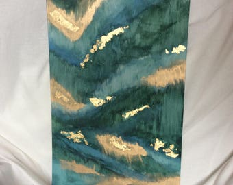 Emerald green  gold leaf abstract art