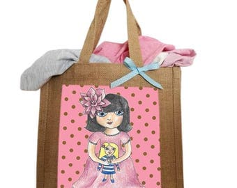 I Love Playing With Dolls Hand Drawn, Personalised, Handmade Shopping Bag UK