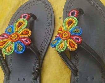 leather beaded boho/african sandal/Kenyan multi coloured maasai masai sandals