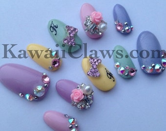 Rainbow Pastel Monogram Swarovski Kawaii Gel Nail Art Press on false fake nails