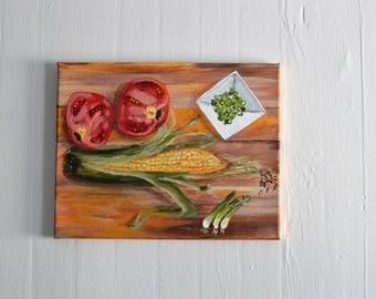 "Original Acrylic Painting Food 11x14 Kitchen art by NJ artist Linda Robinson ""On The Chopping Block"""