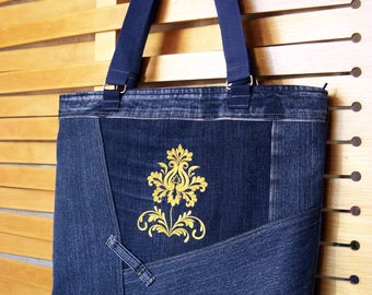 Denim Bag Embroidery yellow flower Shoulder Handbag women gift for Her recycled upcycled denim zipper pouch jean side bag blue