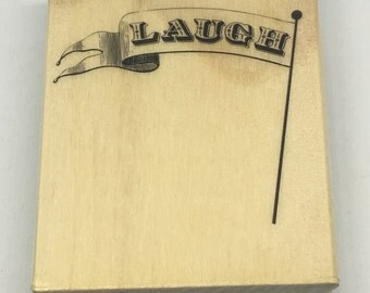 Rubber Stamp - Laugh Flag Stamp - Scrapbooking - Card Making Supplies