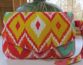 Small Bright Orange/Yellow Ikat Clutch, Wristlet, Makeup Bag, Purse