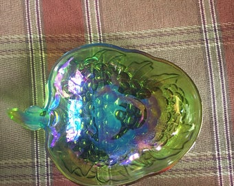 Carnival glass, iridescent grape bowl