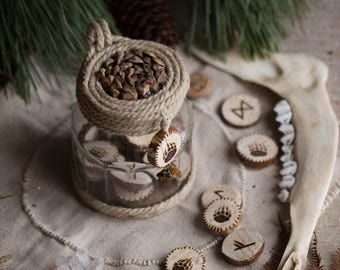 Ecological wooden elder futhark rune divination game and its storage pot - Viking, Nordic, Scandinavian, divination, magic, esoteric