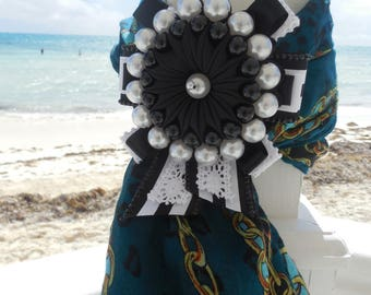 Unique Black-And-White brooch  in Kanzashi technique! Costume jewellery for a Wedding, Anniversary, Mother's Day, Birthday, Prom, Christmas