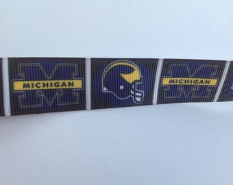 "7/8""  Michigan  inspired Grosgrain Ribbon  -  By The Yard"