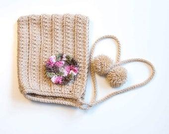 """Crochet """"Brielle"""" Pixie Bonnet Crocheted Baby Bonnet"""
