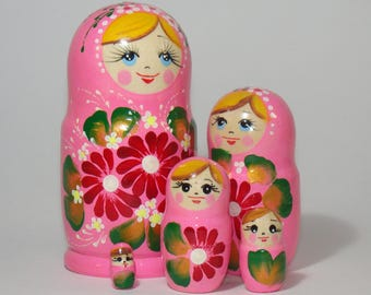 Nesting Doll, 5 pcs, babushka doll, pink flowers, russian nesting doll hand painted, russian wooden gifts