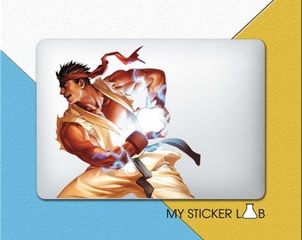 Ryu Street Fighter MacBook Decal Street Fighter Ryu MacBook Sticker Apple Sticker Apple Logo Ryu Hadouken Laptop Decal Boxing Karate cmc035N