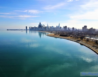 Lake & Skyline Reflections - Wall Art, Office Art, Chicago Art, Chicago Picture, Chicago Canvas, Chicago Wall Art, Chicago Photography