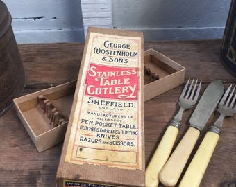 old advertising box ,antique , vintage , industrial ,collectable  , kitchen ,shop display box .