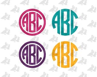 Circle Monogram Single Color Decal Sticker