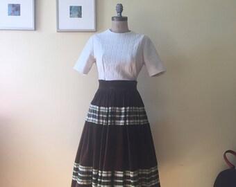 Vintage brown velvet & taffetta full skirt