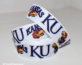 "University of Kansas 7/8"" Grosgrain Ribbon 154A"