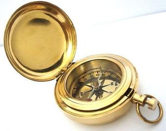 Collectible brass pocket compass - Push button pocket Brass Compass