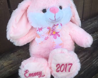 Personalized Easter Bunny, personalized easter gift, easter bunny, easter rabbit, personalized bunny, pink bunny, easter gift