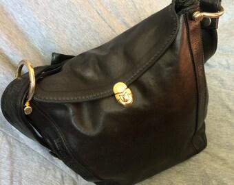 VINTAGE Marino Orlandi Black Glazed Leather Pushlock Flap Bag