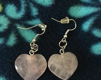 Pink Quartz heart shaped Earrings