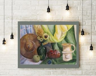 Gift for mom Paintings watercolor Gift art Paintings in interior Paintings on order Picture with food Decor of a house Wall kitchen