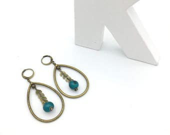 Drops earrings peacock blue and bronze