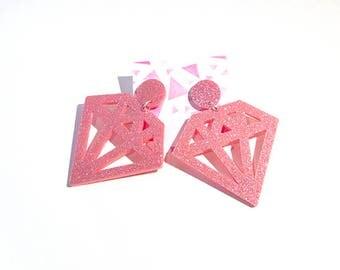 Pink Glitter Diamond Earrings, laser cut acrylic
