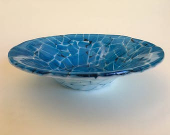 Turquoise Fused Glass Bowl With White and Black Mosaic Pattern