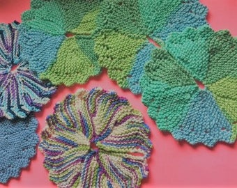 Knitted, all cotton Dish Cloth/ Face Cloth.  Great for Face and Bath. Soft and durable
