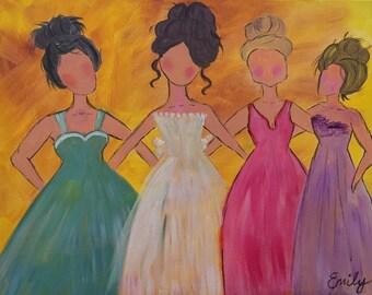 Original Painting-4 Women Belles of the Ball