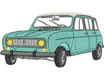 Renault 4L embroidery pattern