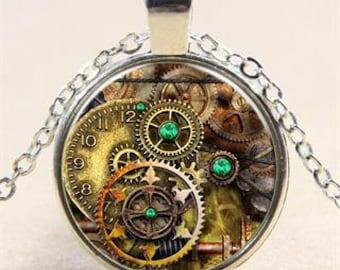 Vintage Steampunk Clockwork Cabochon Tibetan Silver Chain Pendant Necklace