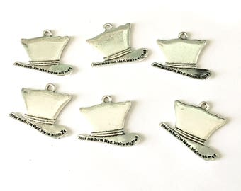 1 pcs MAD HATTER HAT - Charm Pendant - Hat Charm Pendant - Top Hat Charm Pendant -  Tibetan Silver Charm - Pendants