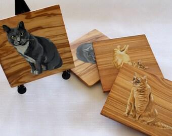 Custom pet olive wood coasters, Personalized coasters, Hand-painted coasters, Olive wood coasters, Pet coasters